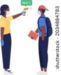 tutor measures student...   Shutterstock .eps vector #2034884783
