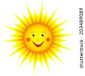 cute smiling orange sun cartoon ... | Shutterstock .eps vector #203489089