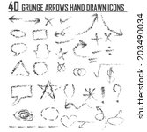 hand drawn arrow set. vector... | Shutterstock .eps vector #203490034