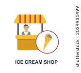 ice cream shop flat icon....