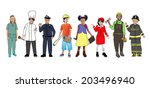 children wearing future job... | Shutterstock . vector #203496940