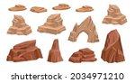 desert rock vector set  cartoon ...   Shutterstock .eps vector #2034971210