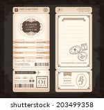 old vintage style boarding pass ... | Shutterstock .eps vector #203499358