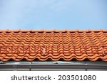 red tile roof with stairs | Shutterstock . vector #203501080