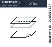 symbol of layers thin line icon ... | Shutterstock .eps vector #2035051529