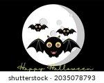 happy halloween  cartoon bats... | Shutterstock .eps vector #2035078793