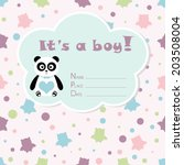 baby boy arrival card. baby... | Shutterstock .eps vector #203508004