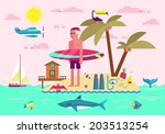 Flat design style vector illustration concept of summer vacation, traveling, tourism, journey, recreation, rest, surfing. Summer holiday flat icons set isolated on stylish background.