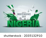 happy independence day nigeria... | Shutterstock .eps vector #2035132910