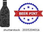 low poly beer bottle polygonal... | Shutterstock .eps vector #2035204016