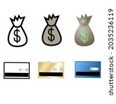 vector set of atm and money...