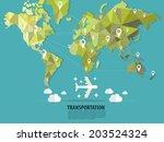 World map transportation vector :flats - stock vector