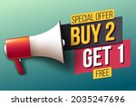 special offer  buy 2  get 1 free | Shutterstock .eps vector #2035247696