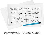 different types of hand drawn...   Shutterstock .eps vector #2035256300