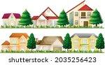set of suburban houses on white ...   Shutterstock .eps vector #2035256423