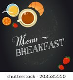 breakfast menu drawing with... | Shutterstock .eps vector #203535550