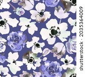 watercolor floral seamless... | Shutterstock . vector #2035364009