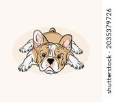 funny pet puppy french bulldog... | Shutterstock .eps vector #2035379726