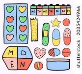 vector set of medicines   ...   Shutterstock .eps vector #2035424966