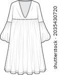 long bishop sleeve v neck... | Shutterstock .eps vector #2035430720