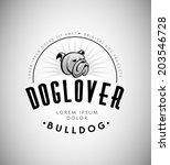 bulldog head vintage emblem.... | Shutterstock .eps vector #203546728