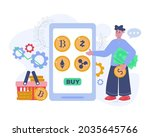 crypto currency exchange vector ...   Shutterstock .eps vector #2035645766