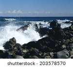 An Image Of Wave And Rock