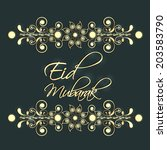 shiny floral decorated eid... | Shutterstock .eps vector #203583790