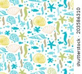 seamless with marine motifs. ... | Shutterstock .eps vector #203586310