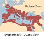 The Roman Empire at its greatest extent in 117 AD at the time of Trajan, plus principal provinces. Vector illustration.