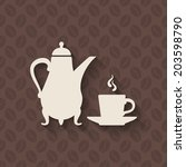 coffee pot and cup on seamless...   Shutterstock .eps vector #203598790