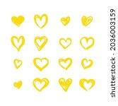 vector set of hand drawn yellow ... | Shutterstock .eps vector #2036003159