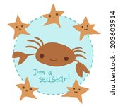 vector cute cartoon crab and...