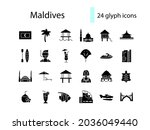 maldives glyph icons set.... | Shutterstock .eps vector #2036049440