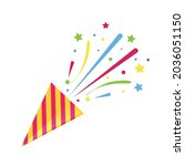 party popper with confetti on... | Shutterstock .eps vector #2036051150