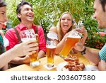 friends drinking beer and... | Shutterstock . vector #203607580