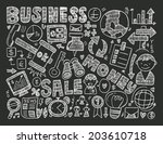 doodle business background | Shutterstock .eps vector #203610718