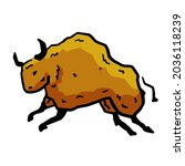 rock art. drawing of a bull or... | Shutterstock .eps vector #2036118239