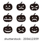 halloween pumpkins with various ... | Shutterstock .eps vector #203612359