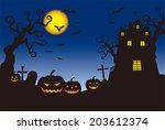 halloween pumpkins and a... | Shutterstock .eps vector #203612374