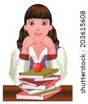 back to school.  little cute... | Shutterstock .eps vector #203615608