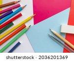Colored Pencils  Eraser  Gray...