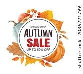 autumn sale banner template...   Shutterstock .eps vector #2036221799