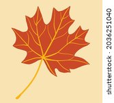 simplicity maple leaf freehand... | Shutterstock .eps vector #2036251040