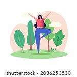 woman doing yoga in the park.... | Shutterstock .eps vector #2036253530