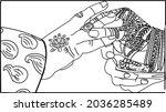 indian wedding clip art of...   Shutterstock .eps vector #2036285489