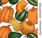 pumpkin seamless pattern.... | Shutterstock .eps vector #2036287340