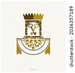 ancient citadel emblem.... | Shutterstock .eps vector #2036357189