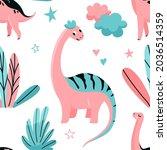 cute dinosaurs seamless vector... | Shutterstock .eps vector #2036514359