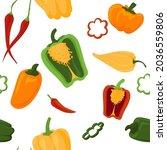 pepper pattern. cartoon...   Shutterstock .eps vector #2036559806